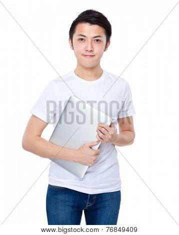Aisan man with laptop