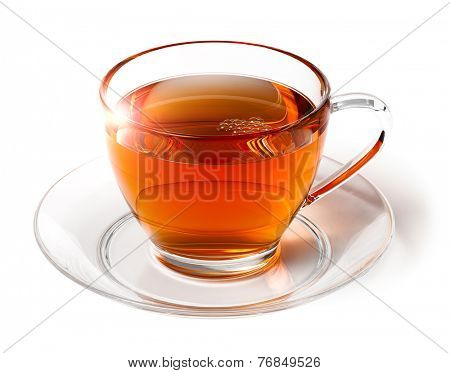 Shining cup of tea isolated on white