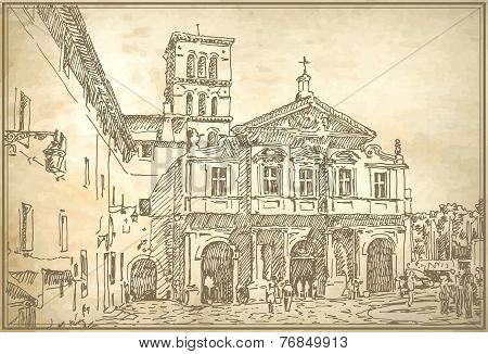 drawing of Rome Italy famous cityscape on old paper