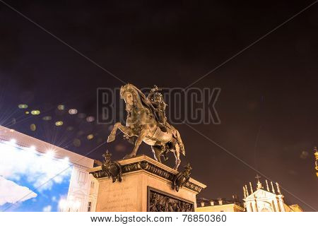 The monument of Emmanuel Philibert in Turin by night