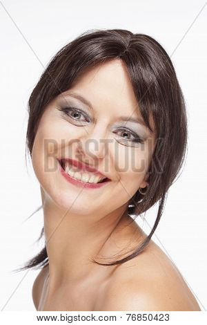 Young Woman With Brown Hair Smiling