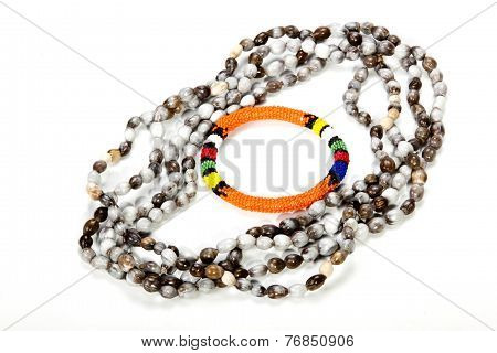 Zulu Beaded Necklace With Bright Orange Armband