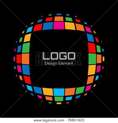Abstract Bright Rainbow Halftone Logo on black background