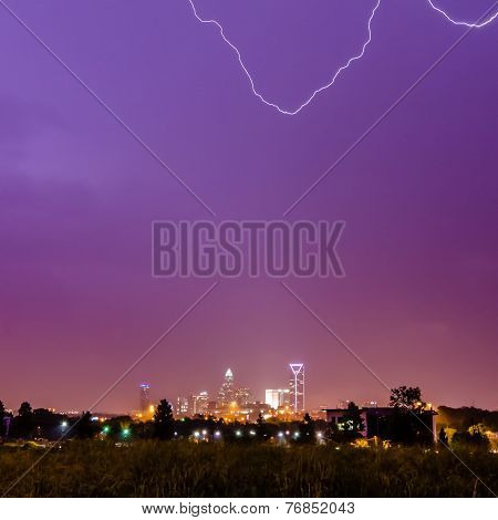 Lightning Strikes Over Charlotte Nc