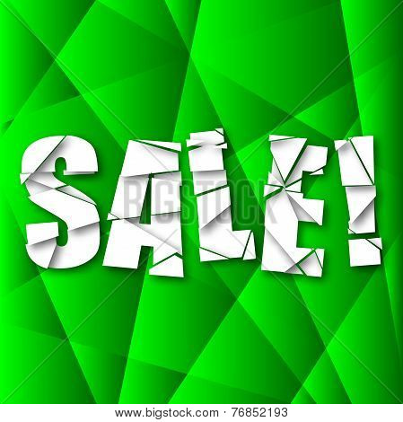 Sale Cut Paper Poster on green background