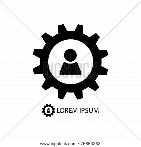 Gear wheel with person sign