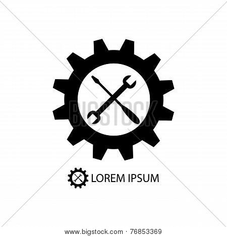 Gear wheel and piece as logo