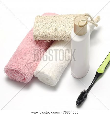 Towel Loofah Liquid Soap And Toothbrush
