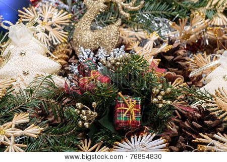 Christmas composition with cone and christmas decorationsthe new year and merry christmas background