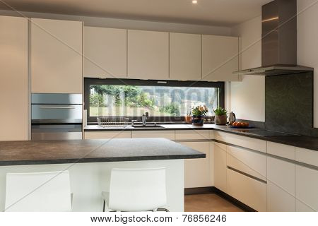 interior, lovely apartment furnished, domestic kitchen view