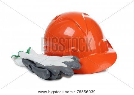 Orange construction helmet on white background