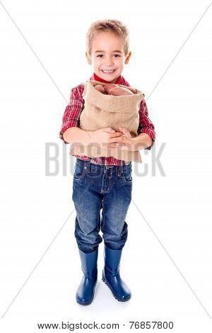 Happy Little Agriculturist Holding Potato Harvest