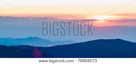 Nice Sunset Over Mountains Or North Carolina