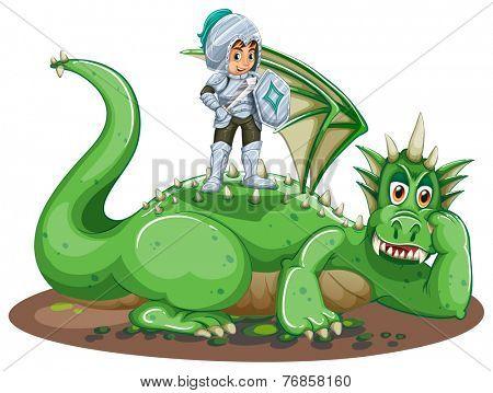 Armoured boy on a green dragon