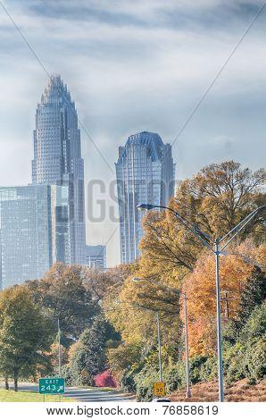 Charlotte North Carolina Skyline During Autumn Season At Sunset