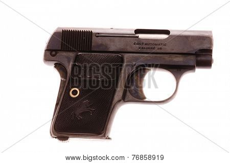 Hayward, CA - November 23, 2014: Macro of a Colt .25 Caliber semi-automatic pistol