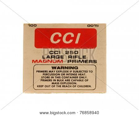 Hayward, CA - November 23, 2014: Box of CCI 250 Large Magnum Rifle Primers