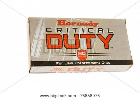 Hayward, CA - November 23, 2014: Box of Hornady Critical DUTY 40 Caliber Ammunition