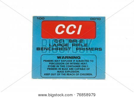 Hayward, CA - November 23, 2014: Box of CCI BR-2 Large Rifle Primers