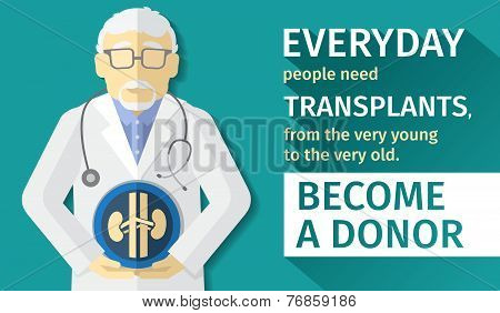 illustration of flat design. transplantation organs. Become a donor.