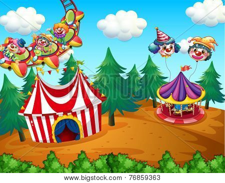 Theme park with circus on the field