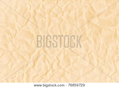 Texture of crumpled horizontal sepia paper. Vector