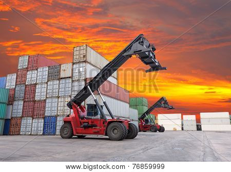 Stack Of Freight Containers At The Dockyard With Beautiful Sky