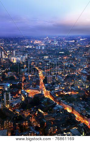 night London, view from shard, UK