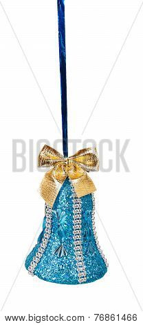 Blue Christmas Bell With Golden Bow