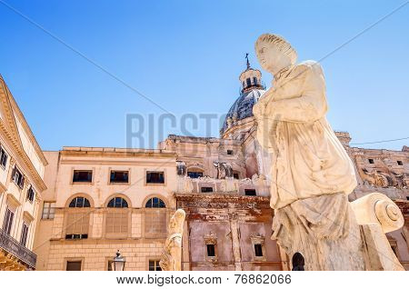 Detail Of Florentine Fountain On Piazza Pretoria In Palermo