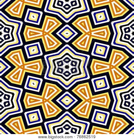 Seamless Geometric Pattern In Black, Blue, Yellow, Orange