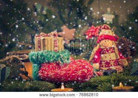 Christmas Handmade Sock Mascot Tree Decorations Pine Needles