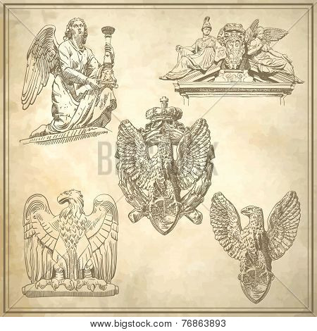 set of sketch drawing winged element angel and eagle
