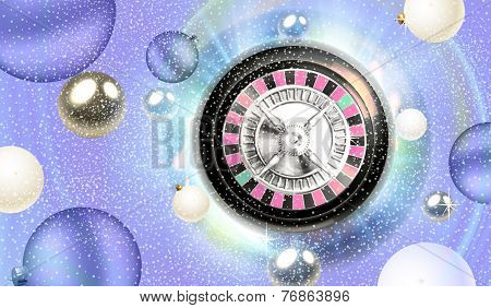 Christmas roulette and silver balls floating illustration