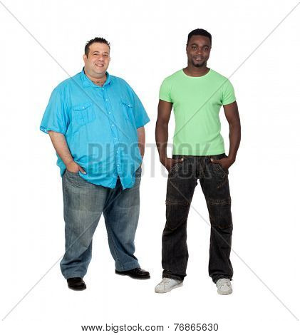 African man with perfect body together with a nice fat man isolated on white background