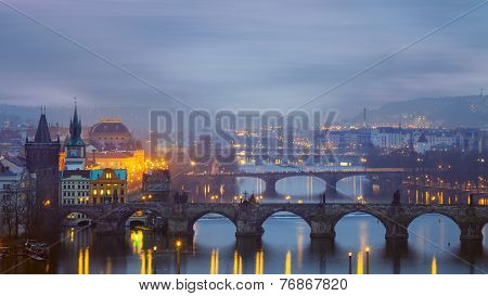 Misty landscape of Charles Bridge in Prague