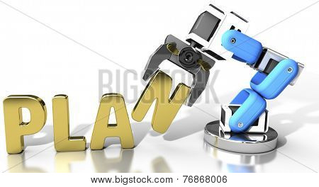 Robot arm holding letter in PLAN word for automation technology