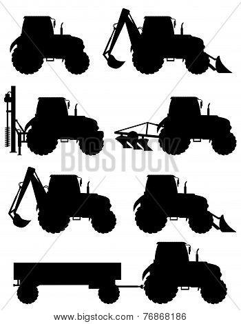 Set Icons Tractors Black Silhouette Vector Illustration