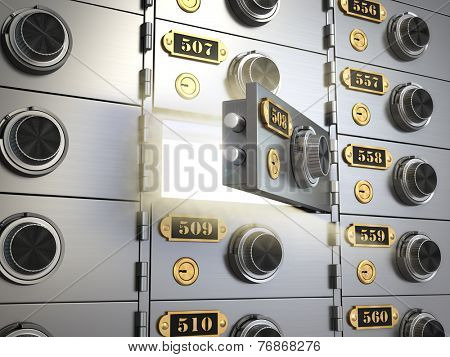 Safe deposit boxes in a bank vault. Banking concept. 3d