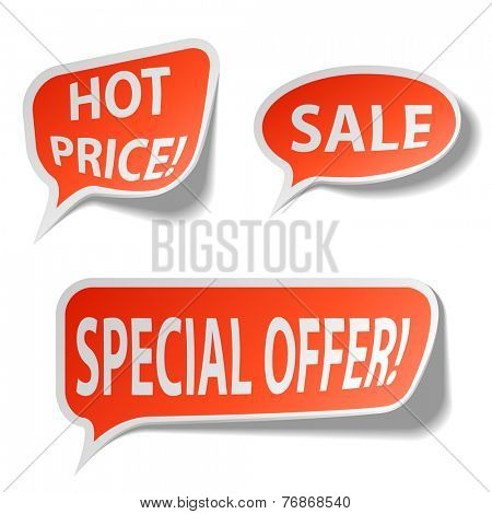 Red sale bubble tags isolated on white background.