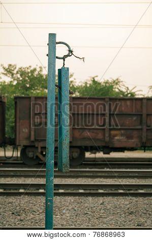 Indian railway platform iron calling bell