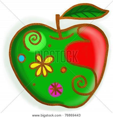 Green Apple Paint Doodle