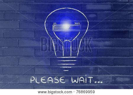 Funny Lightbulb With Progress Bar Inside, Innovation And New Ideas Loading (flare Version)