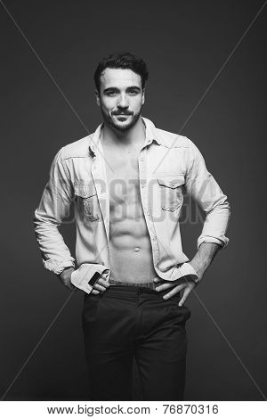 Athletic Man With Unbuttoned Shirt, Black And White