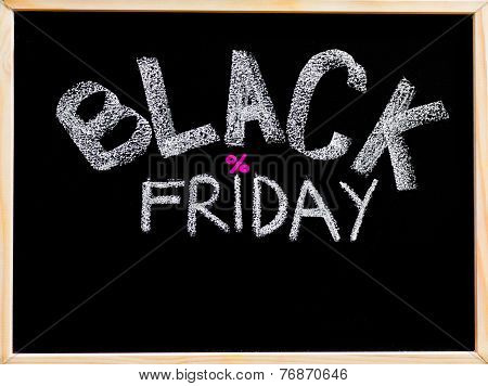 Black Friday Advertisement Handwritten With Chalk On Wooden Frame Blackboard