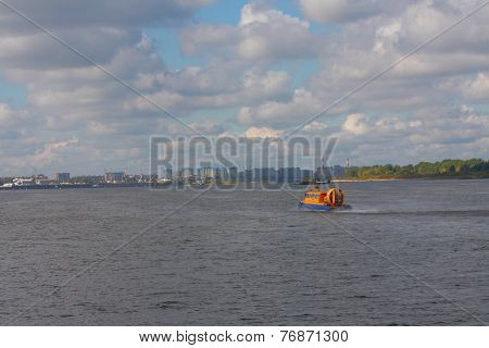air-cushion craft on Volga river in Nizhny Novgorod