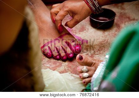 Indian groom doing marriage rituals