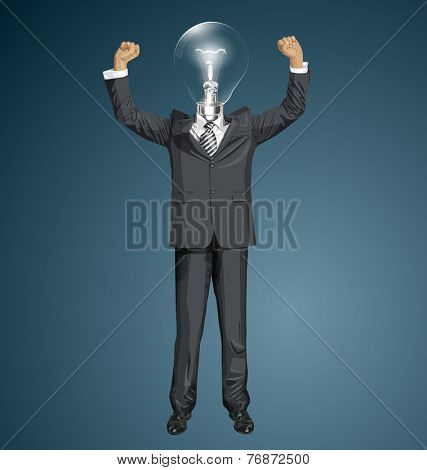 Vector happy lamp head businessman with hands up, celebrating his victory