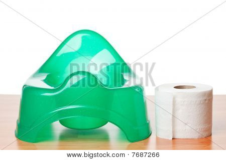 Green Potty And Toilet Paper