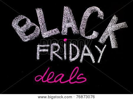 Black Friday Deals Advertisement Handwritten With Chalk On Blackboard